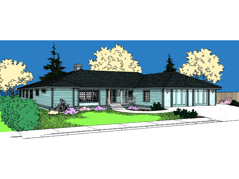 Ranch House Plan Front of Home - 085D-0829 | House Plans and More