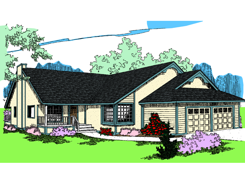Ranch House Plan Front of Home - 085D-0834 | House Plans and More