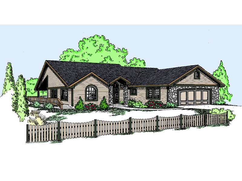 Ranch House Plan Front of Home - 085D-0835 | House Plans and More