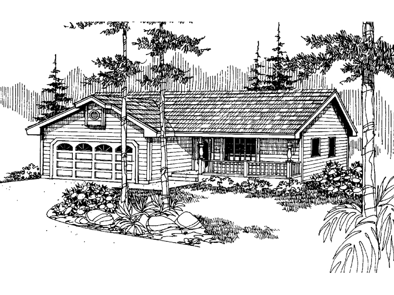Ranch House Plan Front of Home - 085D-0836 | House Plans and More