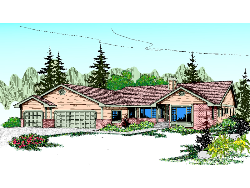 Ranch House Plan Front of Home - 085D-0851 | House Plans and More