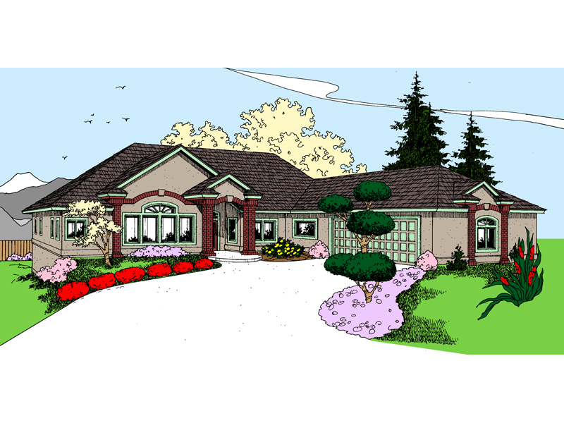 Ranch House Plan Front of Home - 085D-0855 | House Plans and More