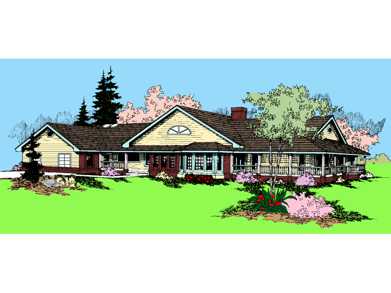 Ranch House Plan Front of Home - 085D-0869 | House Plans and More