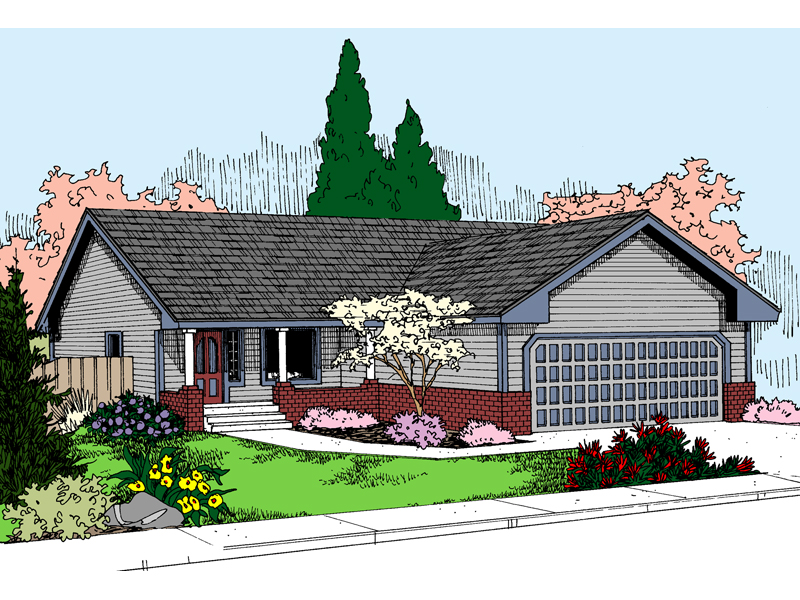Ranch House Plan Front of Home - 085D-0878 | House Plans and More