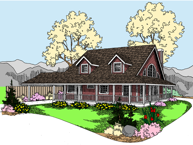 Peaceful Country Design With Wrap-Around Porch
