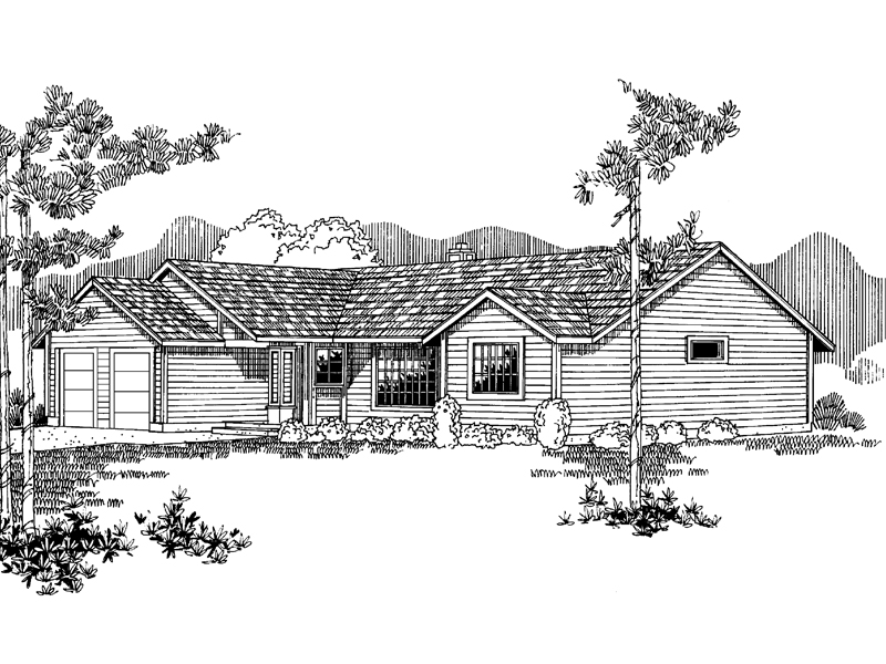 Ranch House Plan Front of Home - 085D-0930 | House Plans and More