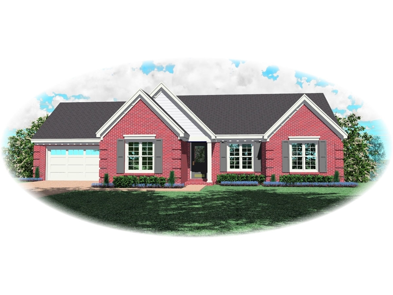 Ranch House Plan Front of Home - 087D-0074 | House Plans and More
