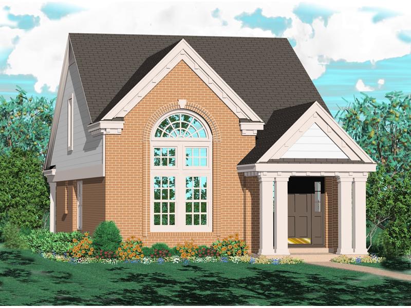 Pillared Covered Porch Creates This Memorable Narrow Lot Design