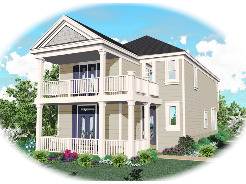 Front Porch And Balcony Above Create Southern Style