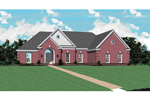 Traditional Brick Ranch Home With Multiple Gables Across The Front