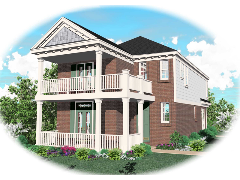 Porch And Balcony Above Creates Southern Character