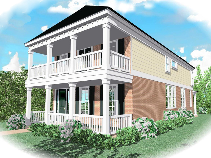 Southern Plantation Home Has Porch And Balcony Above