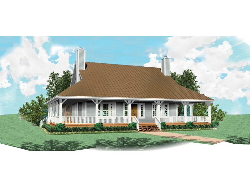 Farmhouse Style Home Has Deep Wra-Around Porch
