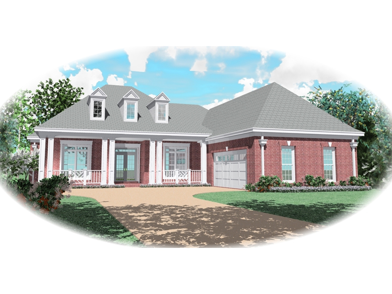 Ranch House Plan Front of Home - 087D-0499 | House Plans and More