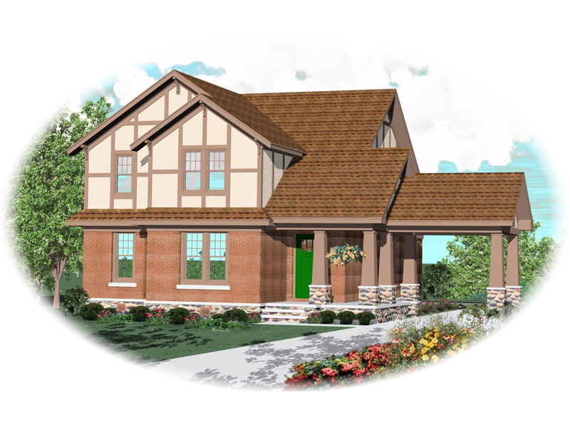 Tudor House Plan Front of Home - 087D-0574 | House Plans and More