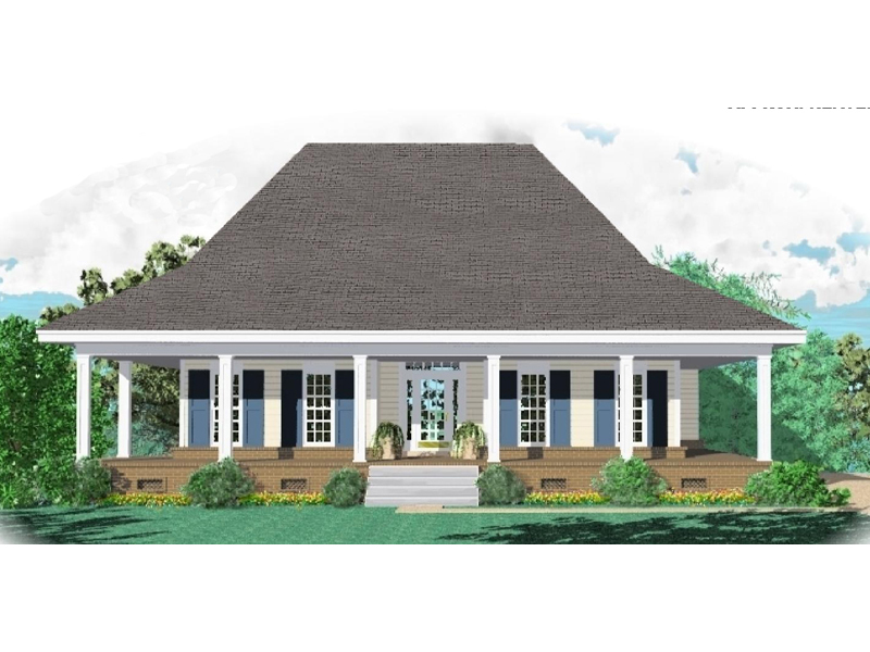 Acadian House Plan Front of Home - 087D-0989 | House Plans and More