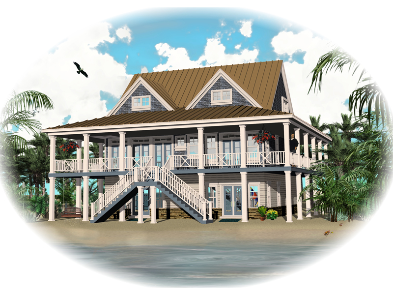 Beach & Coastal House Plan Front of Home 087D-1557