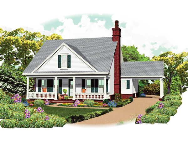 Grayson place country home plan 087d 1672 house plans for Cottage house plans with porte cochere