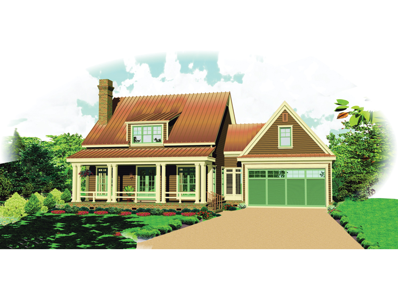 Bungalow House Plan Front of Home - 087D-1673 | House Plans and More