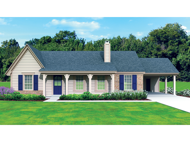 Ranch House Plan Front of Home 087D-1675