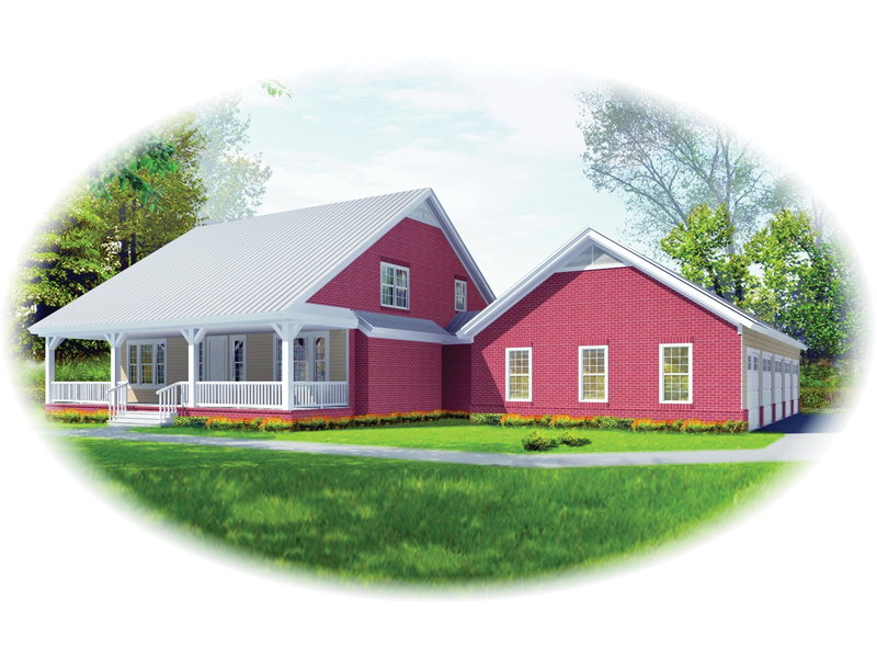 Farmhouse Plan Front of Home - 087D-1677 | House Plans and More