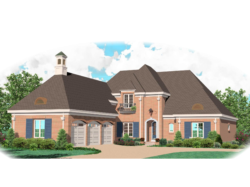 Impressive Luxury Two-Story House With Three-Car Side Entry Garage And Cupola On Roof