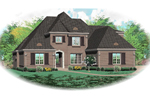 Traditional Two-Story Brick Home With Hip Roof Design