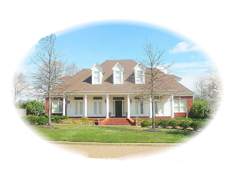 Country Style House Has Deep Covered Porch & Dormers