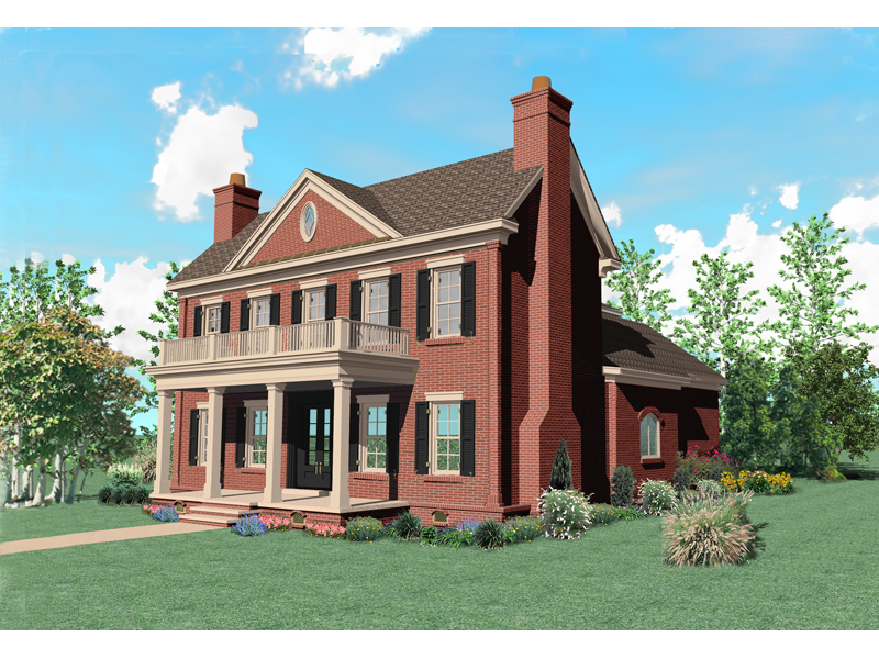 Warson hill georgian brick home plan 087s 0185 house plans and more - Brick house plans ...