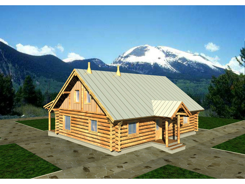 Log Cabin Plan Front of Home 088D-0017