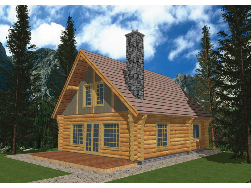 Log Cabin House Plan Front of Home 088D-0027