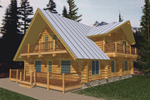 Log Cabin House Plan Front of Home - 088D-0031 | House Plans and More