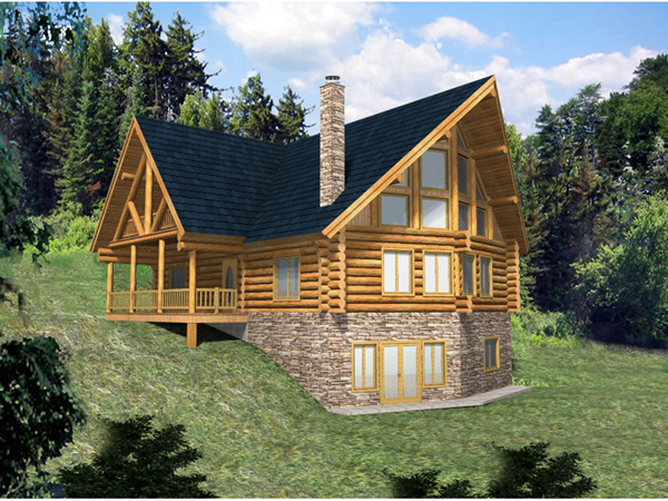 Hickory creek a frame log home plan 088d 0033 house for Log cabin house plans with basement