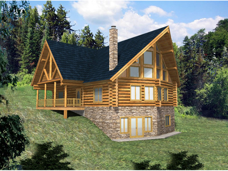 Log Cabin Plan Front of Home 088D-0033