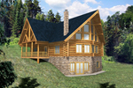 Log Cabin Plan Front of Home - 088D-0033 | House Plans and More