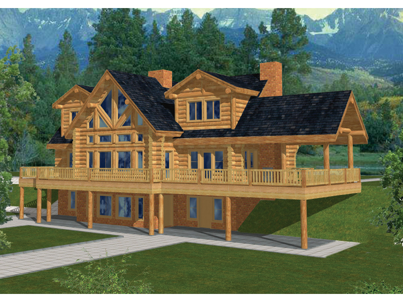 Log Cabin Plan Front of Home 088D-0035
