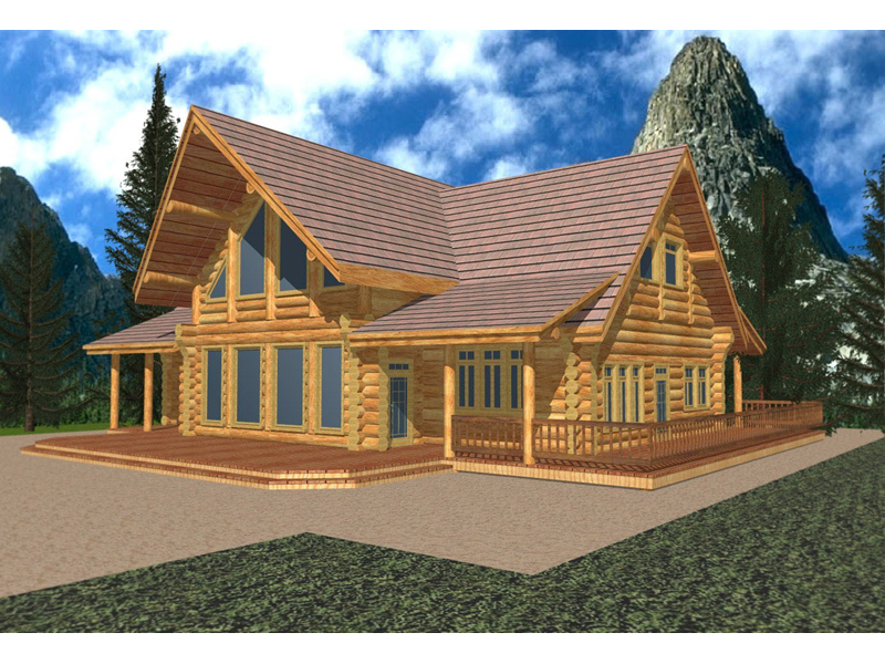 Log Cabin Plan Front of Home 088D-0036