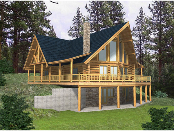 Blackhawk ridge log home plan 088d 0037 house plans and more for Log homes with basement floor plans