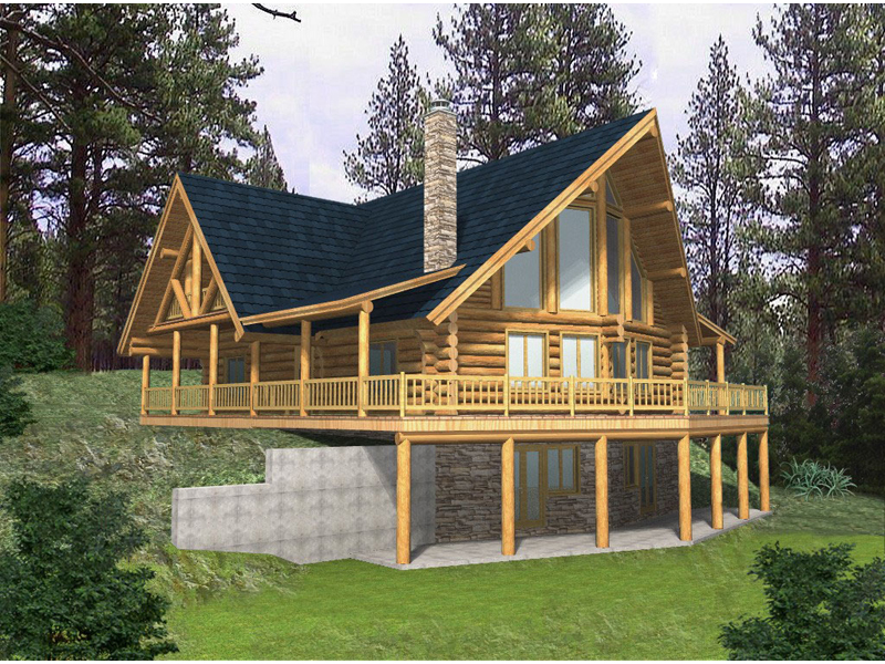Log Cabin Plan Front of Home 088D-0037