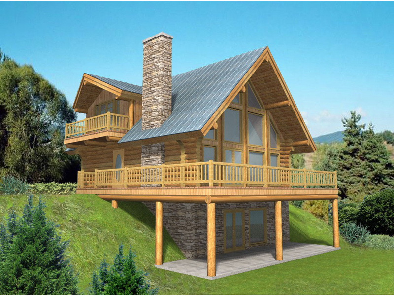 Log Cabin Plan Front of Home 088D-0040