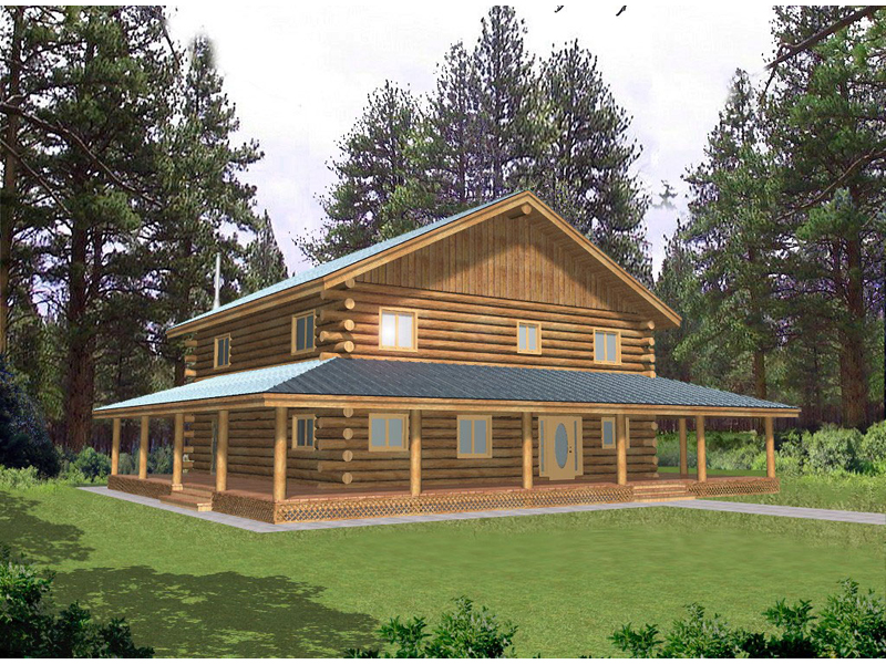 Log Cabin House Plan Front of Home 088D-0041