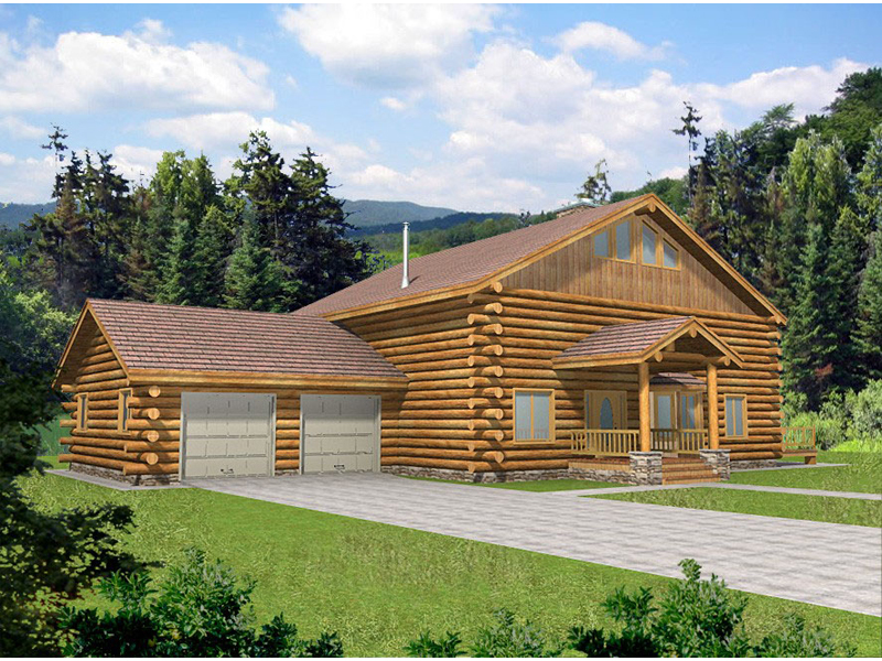 Log Cabin House Plan Front of Home 088D-0042