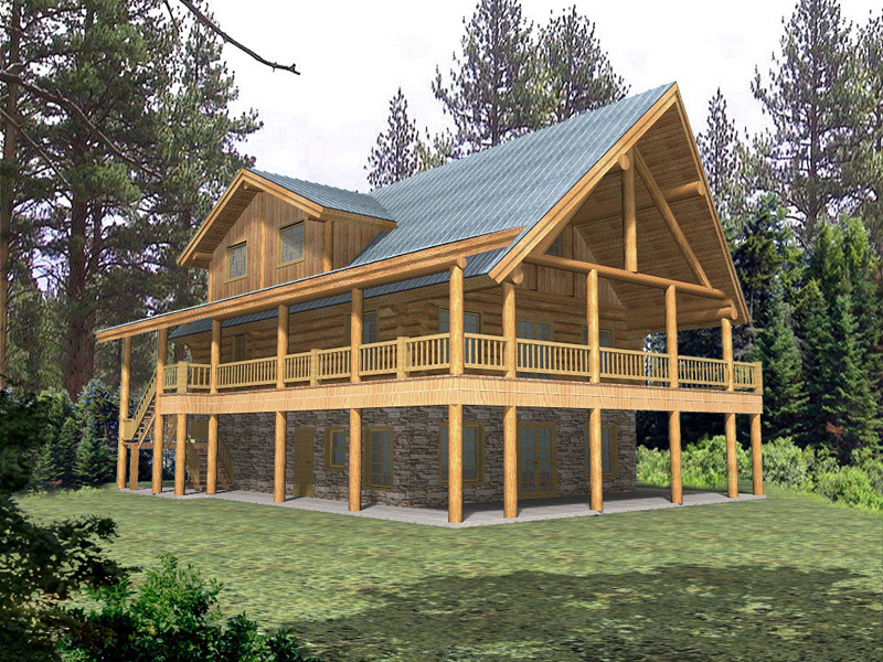 Quiet meadows raised log home plan 088d 0043 house plans for Log cabin house plans with wrap around porches