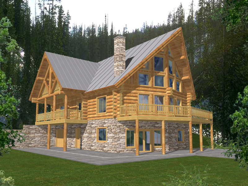 Durand creek a frame log home plan 088d 0045 house plans for Two story log cabin kits
