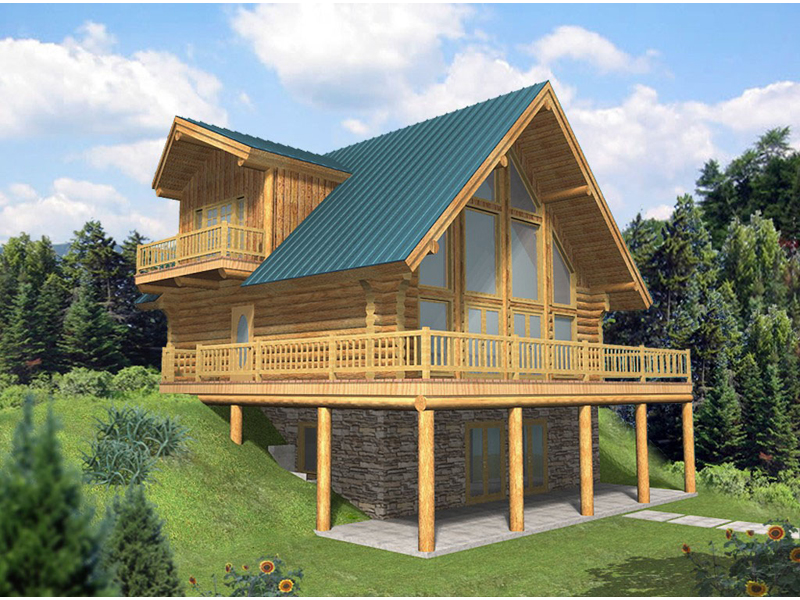Leola raised a frame log home plan 088d 0046 house plans for Log cabin floor plans with walkout basement