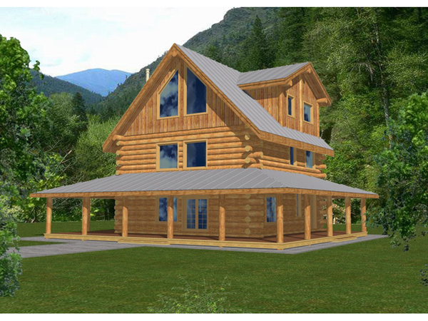Rainbow lake rustic log home plan 088d 0047 house plans for Full wrap around porch log homes