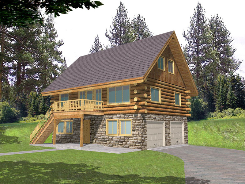 Raised Log Cabin With Two Car Drive Under Garage