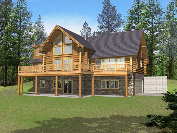 Marvin peak log home plan 088d 0050 house plans and more for Split level house plans with walkout basement