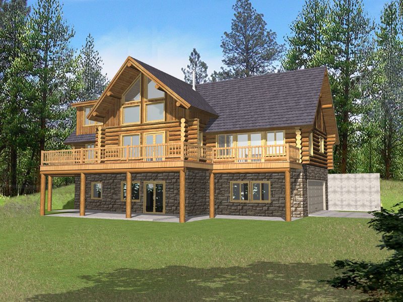 Log Cabin Plan Front of Home 088D-0050