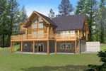 Soothing Wall of Windows Grace This Log Homes Exterior